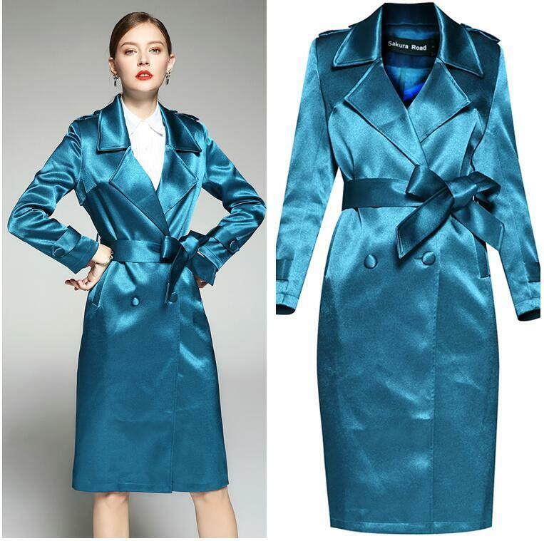 Luxury Women Satin Glossy Windbreaker Mid Long Slim Fit Trench Coat Overcoat New
