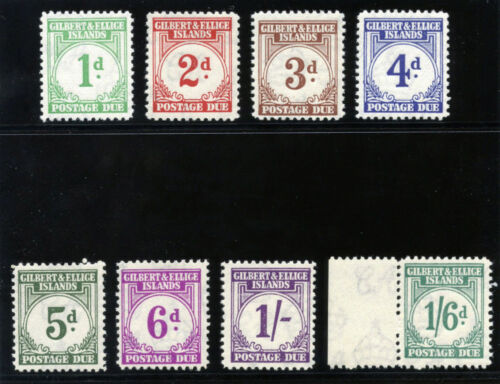 Gilbert & Ellice Is 1940 KGVI Postage Due set complete MNH. SG D1D8. Sc J1J8.