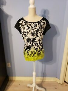 Ana-Womens-Black-Floral-Short-Sleeve-Blouse-Size-Large
