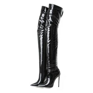 women pointy toe stilettos strench thigh high boots high