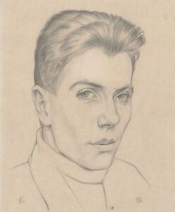 """""""portrait De Jeune Homme"""" Dessin Au Crayon Noir S/papier Léopold-franz Kowalski"""
