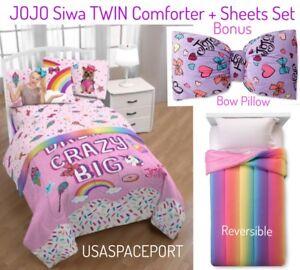 Jojo Siwa Rainbow Comforter Sheet Bow Decor Pillow Set