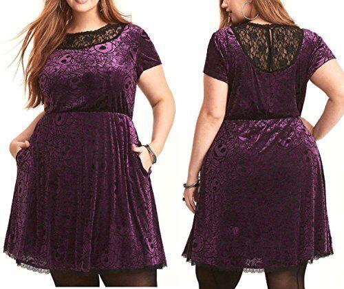 Pesadilla antes de navidad de terciopelo  púrpuraa con Encaje Negro Vestido Cabezas De Jack  diseño simple y generoso