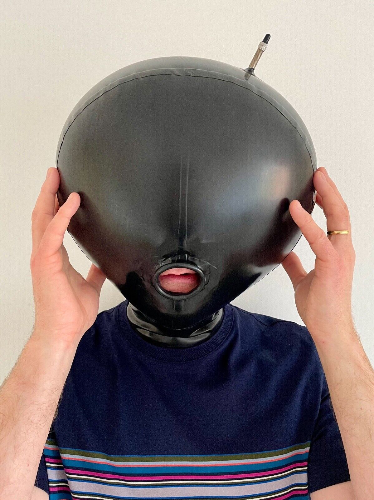 Latex Rubber Inflatable Unisex Double Layer Ball Mask Hood Open Mouth - Medium