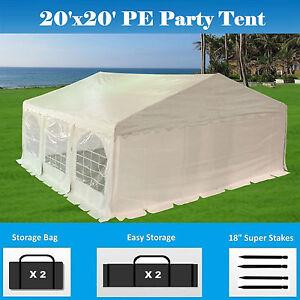 Details about SALE $$$ 20'x20' PE Party Tent - Heavy Duty Carport Canopy  Car Wedding Shelter