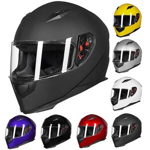 ILM Full Face Motorcycle Helmet Street Bike Helmet with 2 Visors+Neck Scarf DOT