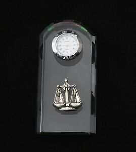 Libra Scales Glass Clock Quartz Movement Constellation Gift Boxed
