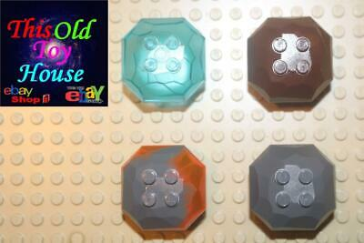 LEGO 2X Rock Boulder TRANS-NEON ORANGE part# 30293 TOP PIECES ONLY No Bottoms