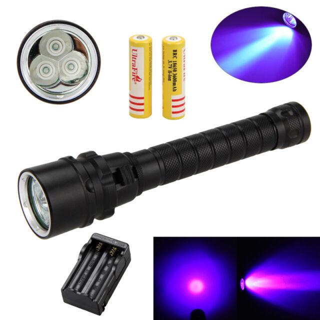 Underwater 395nm 5x XPE UV LED Diving Flashlight Torch Lighting Scuba 100m Deep