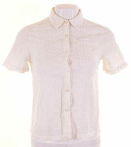 JACK-WILLS-Womens-Shirt-Short-Sleeve-UK-6-XS-White-Cotton-Loose-Fit-AF06