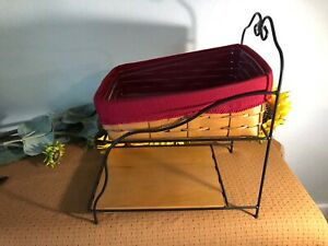 Longaberger-Wrought-Iron-Paper-Tray-And-Basket-With-Liner-amp-Protector-Excellent