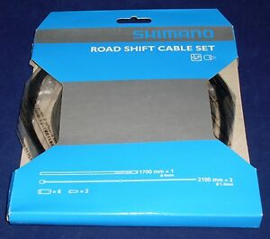 Outer /& 2 Inners Shimano Road Bike Gear Cable Set Black Y60098501 Steel