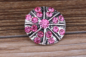 NEW-Pink-Rhinestone-Drill-Charm-Chunk-Snap-Button-fit-for-Noosa-Bracelet-AE68
