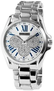 Excellanc-1515-Damen-Armbanduhr-silberfarben-Chronograph-Strass-Damenuhr-Uhr