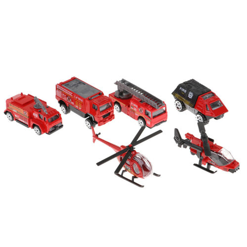 6x Fire Engine Car Truck Helicopter Plane Model Die-cast Pull Back Toy Kids