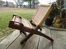 Hans Wegner Style Child's Danish Modern Folding Rope Chair Vintage  Mid Century