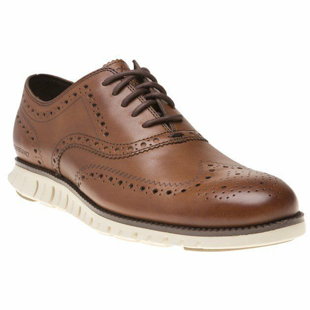 New MENS COLE HAAN TAN ZEROGRAND WING OX LEATHER SHOES BROGUE
