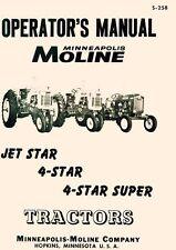 Minneapolis Moline Jet Star 4 Super Operators Manual