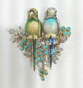 OLD-18CT-GOLD-BROOCH-PARROT-WITH-DIAMONDS-TURQUOISE-EMERALD-SAPPHIRE-amp-CITRINE