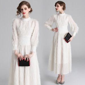 Womens-Tassels-Maxi-Dress-Puff-Sleeve-Stand-Collar-High-Waist-Tunic-Ball-Gown