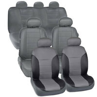 Van Suv Seat Covers 3 Row 2 Tone Color Pu Leather Full Covers Gray Black on sale