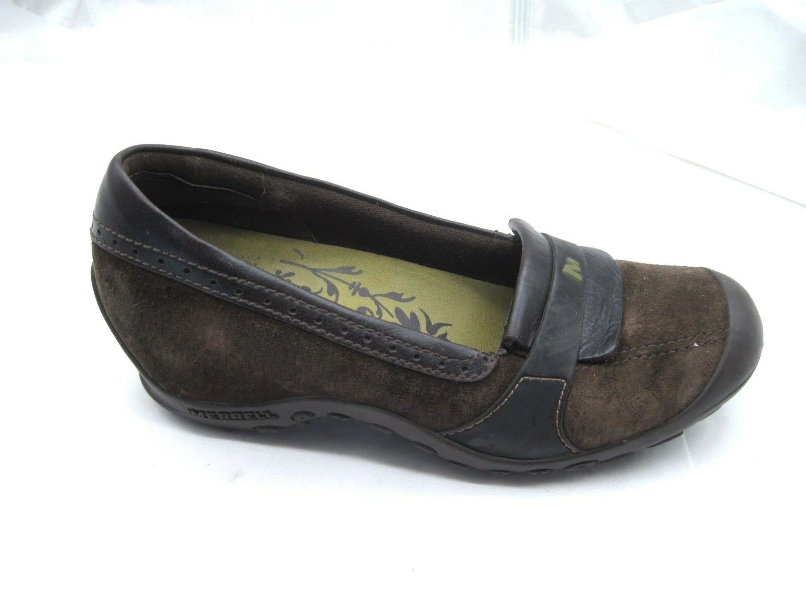 Merrell 7.5M Plaza Moc Dark Coffee Brown suede loafers womens ladies flats shoe