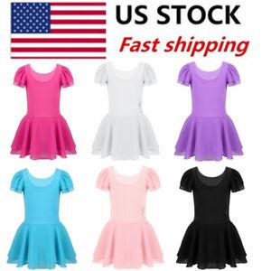 US-Girls-Toddler-Ballet-Costume-Skirt-Leotards-Gymnastics-Tutu-Dress-Dance-Wear
