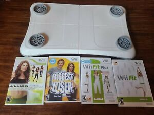 Nintendo Wii Fitness Fit Lot Balance Board + 4 Video Games TESTED discontinued
