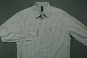 Krew Kr3w Long Sleeve Button Front Casual Skate Shirt. Blue Stripe, Men's M. GUC