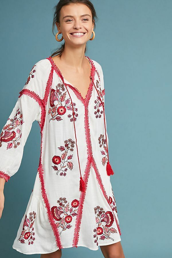 NWT Anthropologie Hadley Embroiderot Tunic Dress By Ranna Gill Sz. Small