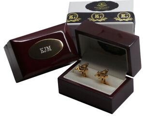 Engraved Gold Masonic G Cufflinks in Personalised Cufflink Case Box
