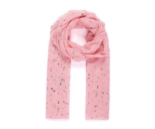 Lightweight Pink Metallic Print Brush Stroke Ladies Scarf