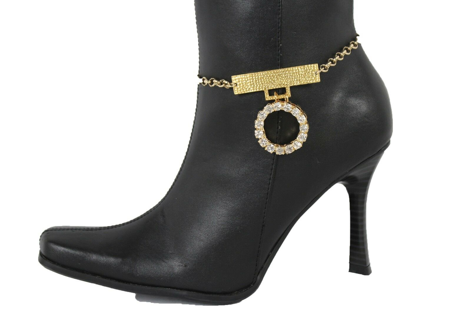 Women Gold Chain Boot Bracelet Anklet Shoe Charm Bling Jewelry Silver Round Ring