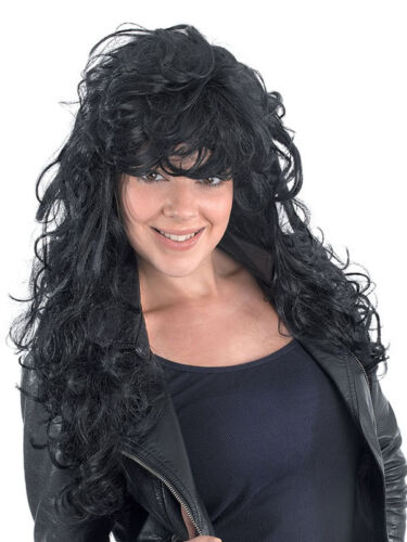 Ladies Glam Punk Rocker Chick Black 1980s 80s Tousled Wig Party Fancy Dress New