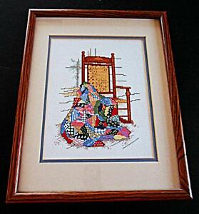 vintage patchwork quilt country porch rocking chair counted cross stitch framed ebay. Black Bedroom Furniture Sets. Home Design Ideas