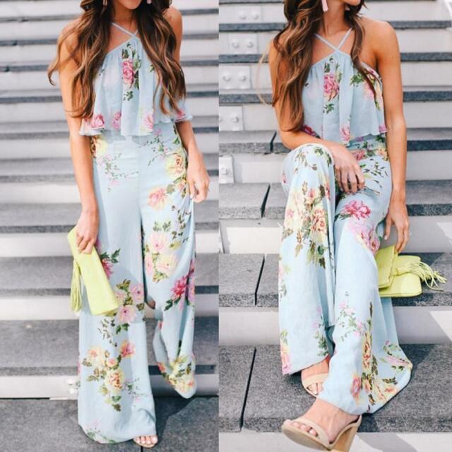 Womens Strap Floral Sleeveless Jumpsuit Wide Leg Pants Playsuit