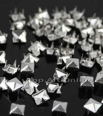 200x Pyramid Studs Rivets Spots Spikes 7mm Punk Leathercraft DIY Silver
