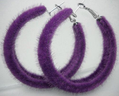 E1074 Fashion Downy Circle Femmes Fille Boucles d/'oreilles créoles bijoux