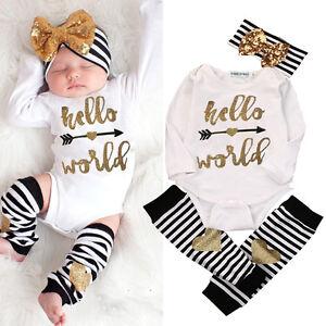 1806320f188 Details about Cute Newborn Baby Girls Hello World Bodysuit Romper+Leg  Warmers Headband Outfit