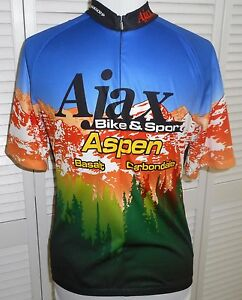 SUGOI CYCLING BIKE RACE JERSEY MENS LARGE Blue Black Short Sleeve 3/4 zip