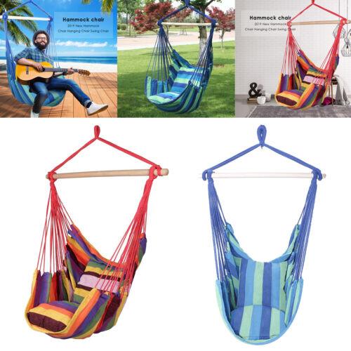 Hamac Suspendu Corde chaise portique Balancoire Siège Patio Camping Jardin avec 2 Oreillers