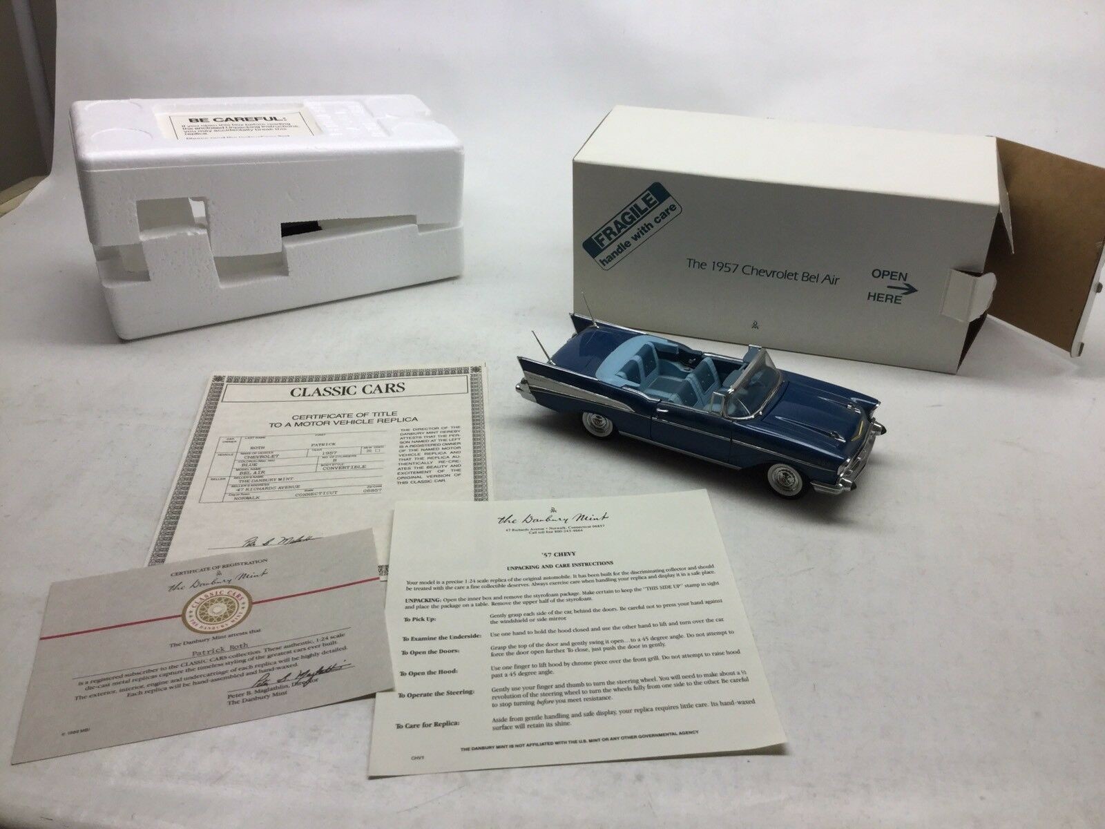 Danbury Mint 1957 Chevrolet Bel Air Congreenible 1 24  With Box & Papers