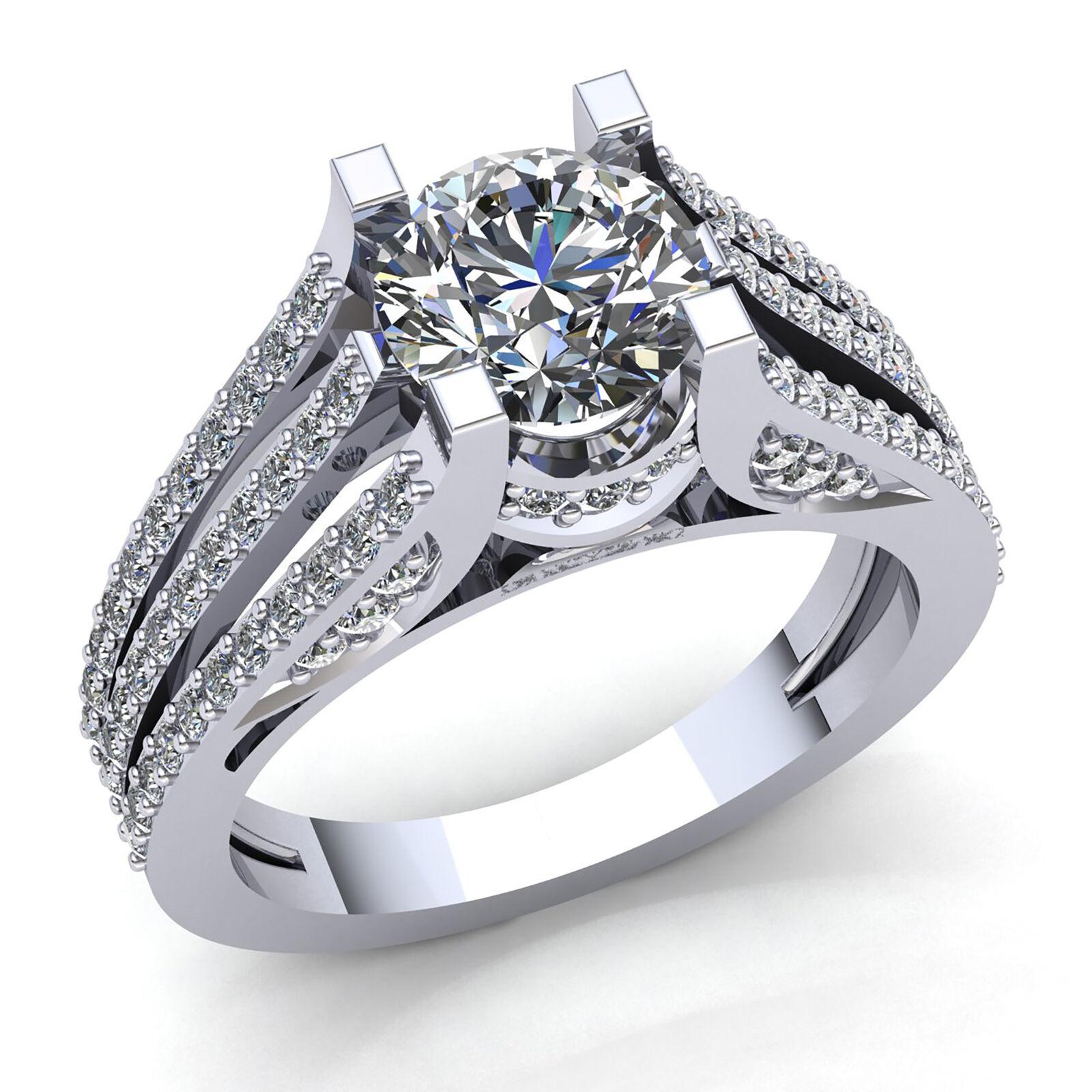 Natural 1carat Round Cut Diamond Ladies Split Shank Engagement Ring 14K gold