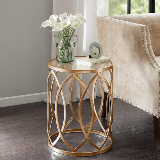 Modern Accent Tables Gold Metal Frame Glass Top Drum Table Living Room  Furniture