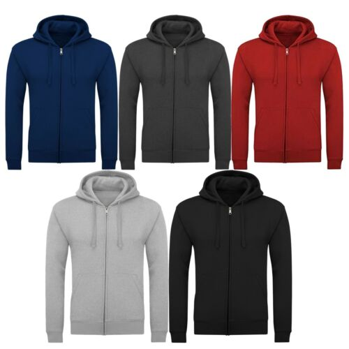 New Mens Plain Fleece Zip Up Hoody Gym Workwear Jacket Top Sweatshirt Hoodie