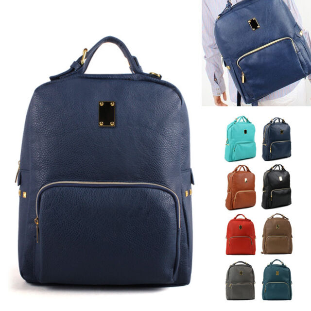NEW Unisex Backpack Satchel Book Bags Casual School STUD Bag Faux Leather