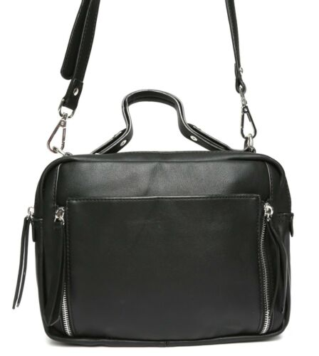 Urban Expressions Womens Black Leather Crossbody 1