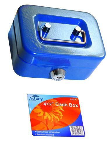 4 1/2 inch Small Key Lock Petty Cash Piggy Bank Money Box Safe Coin Slot Blue