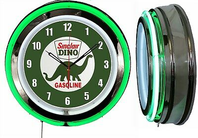 "Sinclair Dino Gasoline 19/"" Double Neon Clock Green Neon Man Cave Garage Gas Oil"