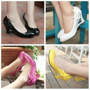 Women-039-s-Synthetic-Leather-Pumps-Heart-Wedge-Heel-Wedding-Bridal-Shoes-US-Sz-D022